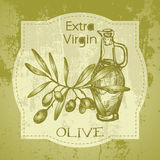 Vintage label with olive branch and oil bottle Royalty Free Stock Photo
