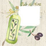 Vintage label for olive oil. In the style of Provence Stock Images
