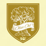Vintage label with olive tree Stock Photography
