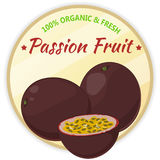 Vintage label with passion fruit isolated on white background in cartoon style. Vector illustration. Fruit and Royalty Free Stock Image