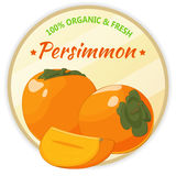 Vintage label with persimmon isolated on white background in cartoon style. Vector illustration. Fruit and Vegetables Stock Images