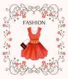 Vintage label with red dress Royalty Free Stock Images