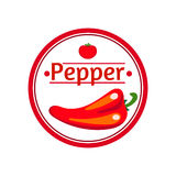 Vintage label with Red hot peppers Royalty Free Stock Photography