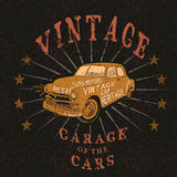 Vintage label with retro car. Grunge effect.Typography design for t-shirts Royalty Free Stock Photography