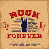 Vintage label. With rock forever (T-Shirt Print Stock Photography