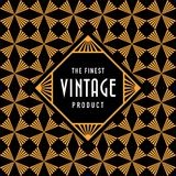 Vintage label with seamless gold Art Deco pattern background. Ideal for packaging and label designs vector illustration
