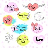 Vintage label set, Hand-drawn doodles and design elements, Ornate frames, banners  ribbons  in pastel color Royalty Free Stock Photos