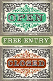 Vintage Label Set Open, Closed, Free Entry. Detailed illustration of a Vintage Label Set Open, Closed, Free Entry Stock Images