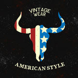 Vintage label with silhouette of bull head Royalty Free Stock Images