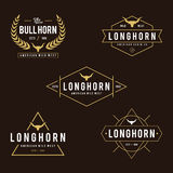 Vintage label with silhouette of bull head, Wild West theme design Royalty Free Stock Images