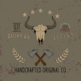 Vintage label with skull of bull. Typography design for t-shirts Royalty Free Stock Images