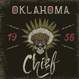 Vintage label with skull-chief. Grunge effect.Typography design for t-shirts Royalty Free Stock Photos