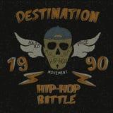 Vintage label with skull for hip-hop design. Grunge effect.Typography design for t-shirts Stock Images