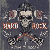 Vintage label with skull. Text -Hard Rock,electric guitars,loudspeakers .Grunge effect Stock Photos