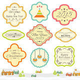 Vintage label or sticker for Christmas and New Year celebration. Royalty Free Stock Photography