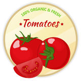 Vintage label with tomatoes isolated on white background in cartoon style. Vector illustration. Fruit and Vegetables. Vintage label with tomatoes isolated on Royalty Free Stock Photography