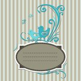 Vintage label with turquoise birds Stock Images