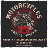 Vintage Label Typeface Motorcycles Poster Stock Photo