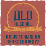 Vintage label typeface named Alcohol. Good font to use in any vintage labels or logo Royalty Free Stock Photography