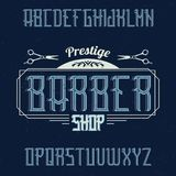 Vintage label typeface named BarberShop. Good font to use in any vintage labels or logo Royalty Free Stock Photo
