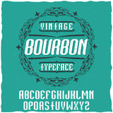 Vintage label typeface named Bourbon. Stock Photos