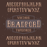 Vintage label typeface. Named Bradford. Good font to use in any vintage labels or logo Stock Photography