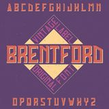 Vintage label typeface. Named Brentford. Good font to use in any vintage labels or logo Royalty Free Stock Photos