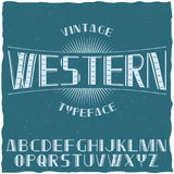 Vintage Label Typeface Named Western. With alphabet on the blue background vector illustration Royalty Free Stock Image