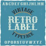 Vintage label typeface. Named Retro Label. Good font to use in any vintage labels or logo Royalty Free Stock Photos