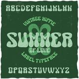 Vintage label typeface. Named Summer. Good font to use in any hippie style labels or logo Royalty Free Stock Images