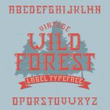 Vintage label typeface. Named Wild Forest. Good font to use in any vintage labels or logo Royalty Free Stock Photos