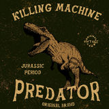 Vintage label with tyrannosaur. Grunge effect.Typography design for t-shirts Stock Images