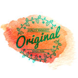 Vintage label with vector watercolor background Royalty Free Stock Photos