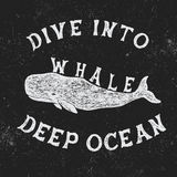 Vintage label with whale. Vintage style.Typography design for t-shirts Stock Photos