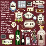 Vintage Labelling Vector Kit - 20+ Labels - for Products Signs Frames Labels & Buttons - Wine Food Coffee Chocolate Vanilla Beauty. Well detailed illustration Royalty Free Stock Photography