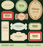 Vintage labels. Isolated on black background Stock Photo