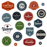 Vintage labels. Set of retro vintage badges and labels with texture Stock Photos