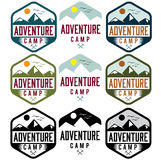 Vintage labels adventure camp Royalty Free Stock Images