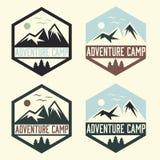 Vintage labels adventure camp Stock Photos