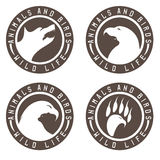 Vintage labels with animals and birds negative space. Concept Stock Photos