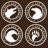 Vintage labels with animals and birds negative space Royalty Free Stock Images
