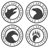 Vintage labels with animals and birds negative space Stock Photo