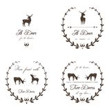 Vintage Labels Collection with Deers Royalty Free Stock Photography