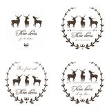 Vintage Labels Collection with Deers Royalty Free Stock Images