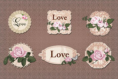 Vintage labels collection with roses Stock Photo