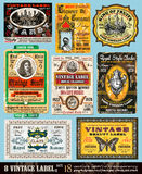 Vintage Labels Collection -Set 18. Vintage Labels Collection - 8 design elements with original antique style -Set 18 Royalty Free Stock Photos
