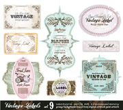 Vintage Labels Collection -Set 9. Vintage Labels Collection - 8 design elements with original antique style -Set 9 Royalty Free Stock Images