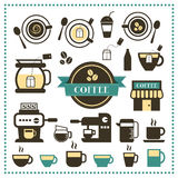 Vintage labels cup and coffee  icon set Stock Image
