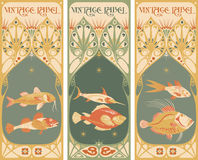 Vintage labels: fish - art nouveau frame. Vintage labels: fish vector - art nouveau frame Stock Image