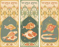 Vintage labels: fish - art nouveau frame. Vintage labels: fish vector - art nouveau frame Stock Photography
